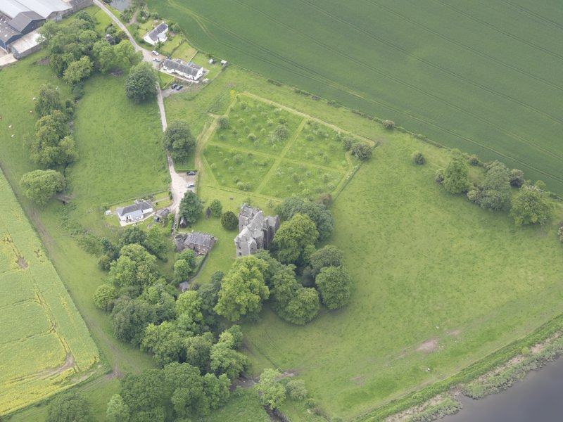 Oblique aerial view of Elcho Castle, taken from the ENE.