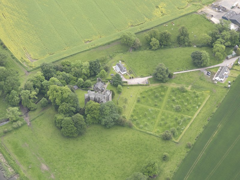 Oblique aerial view of Elcho Castle, taken from the NNW.