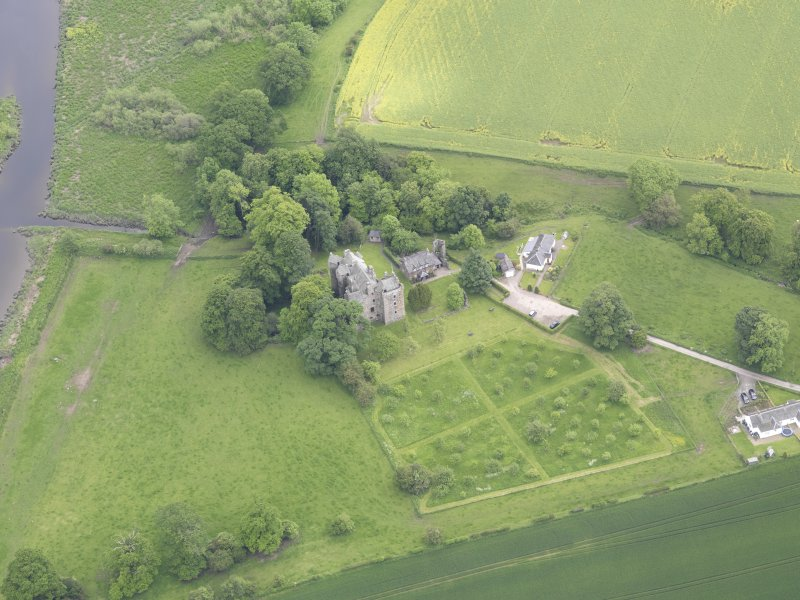 Oblique aerial view of Elcho Castle, taken from the NW.