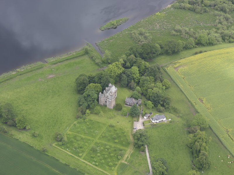 Oblique aerial view of Elcho Castle, taken from the WSW.