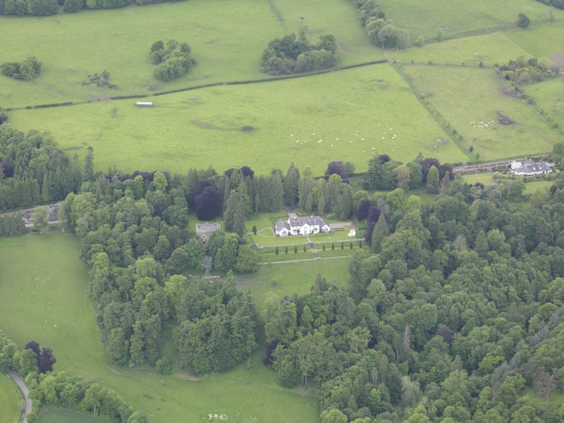 Oblique aerial view of Balthayock Castle, taken from the SSE.