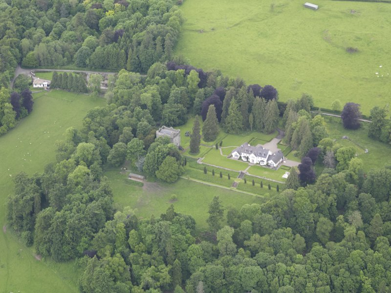 Oblique aerial view of Balthayock Castle, taken from the SE.