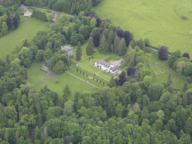 Oblique aerial view of Balthayock Castle, taken from the E.