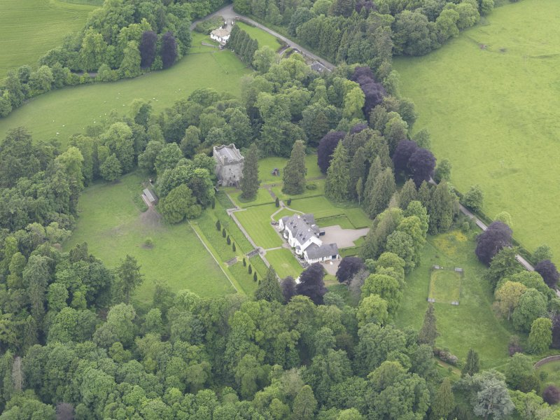 Oblique aerial view of Balthayock Castle, taken from the ENE.