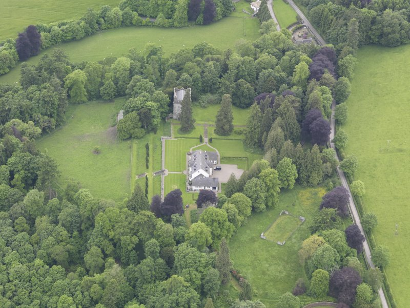 Oblique aerial view of Balthayock Castle, taken from the NE.