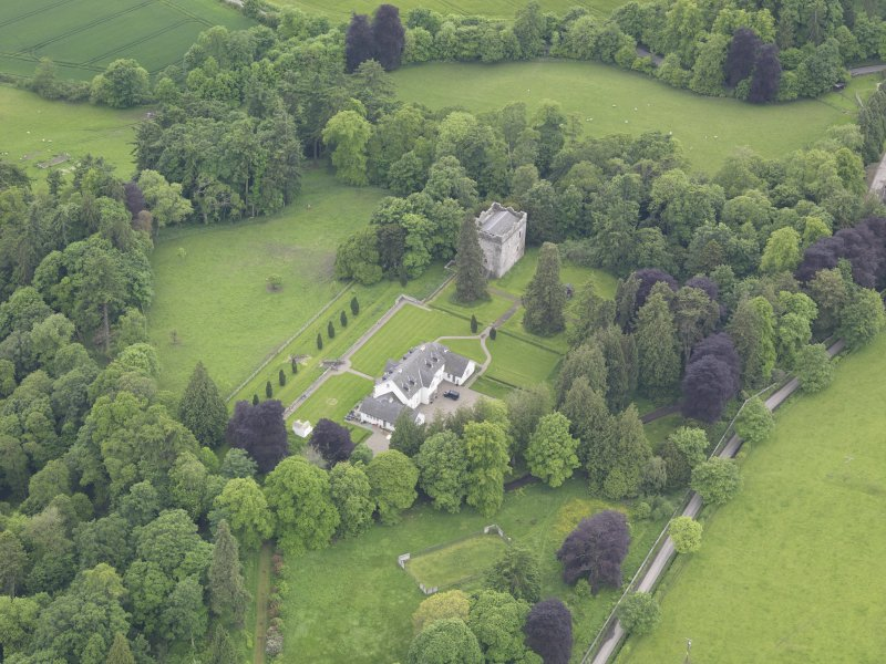 Oblique aerial view of Balthayock Castle, taken from the NNE.