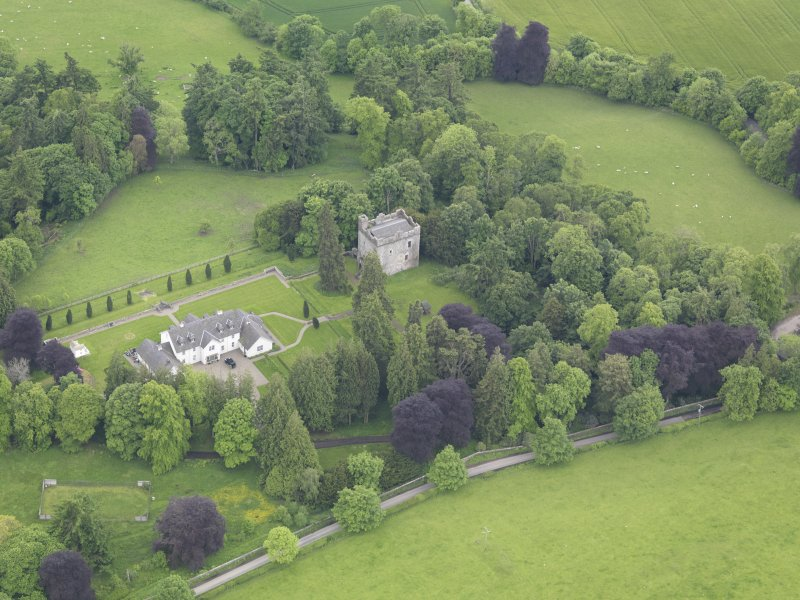 Oblique aerial view of Balthayock Castle, taken from the N.