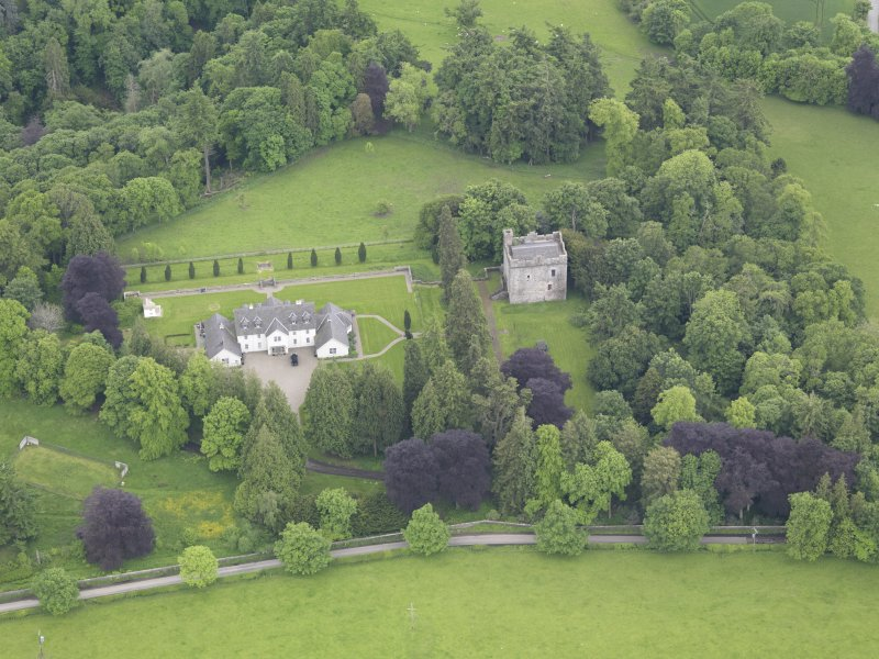Oblique aerial view of Balthayock Castle, taken from the NNW.