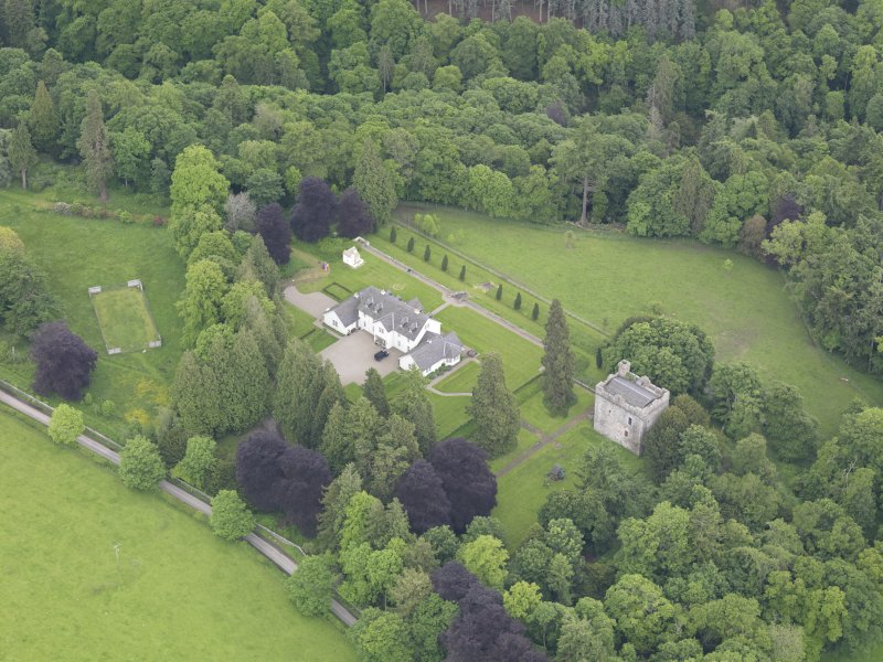 Oblique aerial view of Balthayock Castle, taken from the WNW.