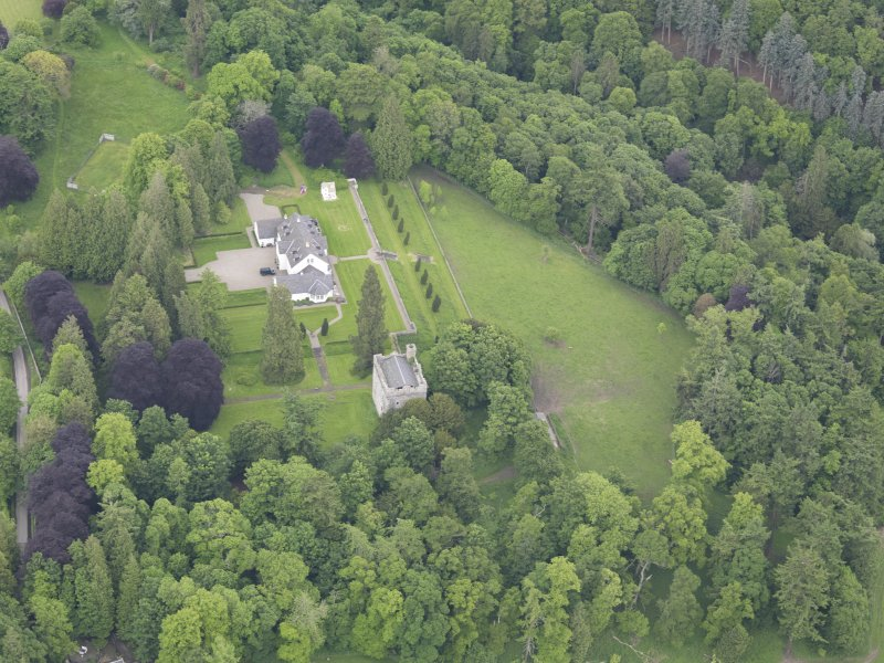 Oblique aerial view of Balthayock Castle, taken from the WSW.