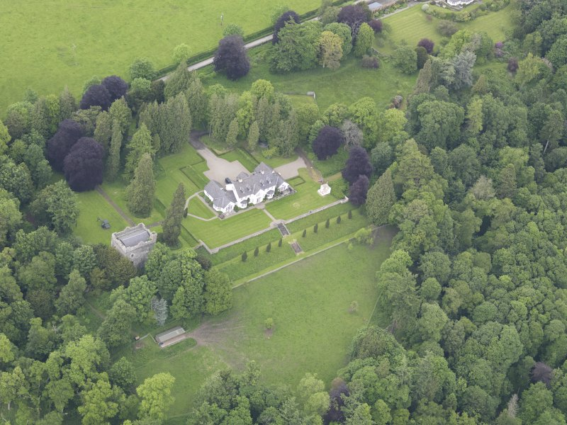 Oblique aerial view of Balthayock Castle, taken from the S.