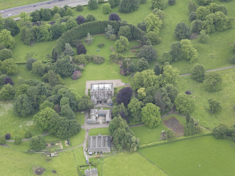 Oblique aerial view of Inchyra House, taken from the NNW.