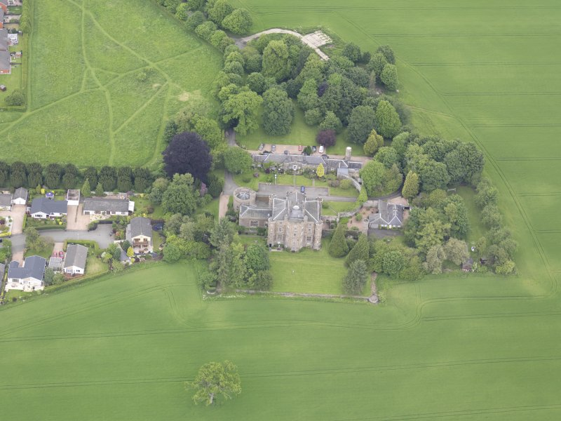 Oblique aerial view of Pitfour Castle, taken from the S.