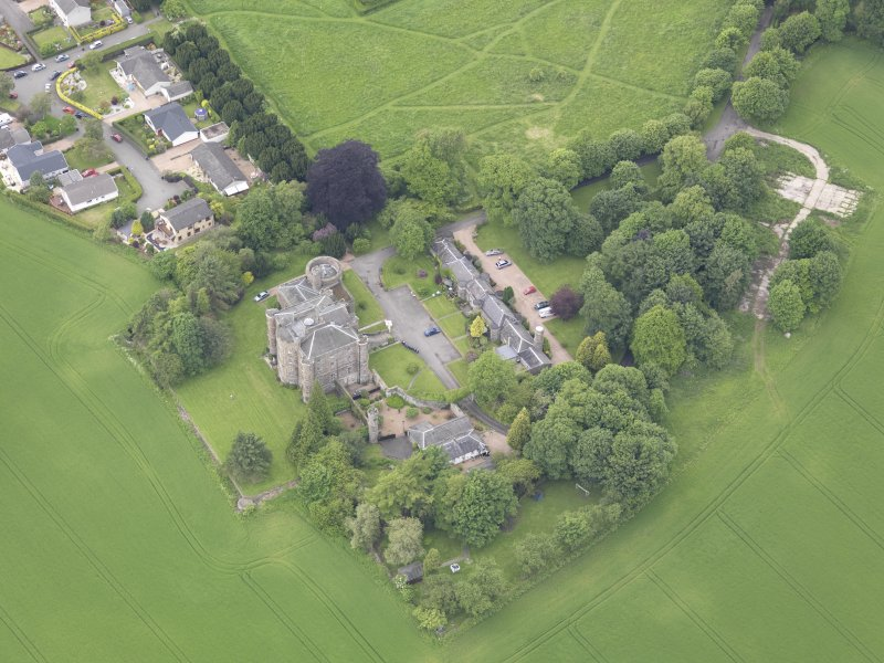 Oblique aerial view of Pitfour Castle, taken from the SE.