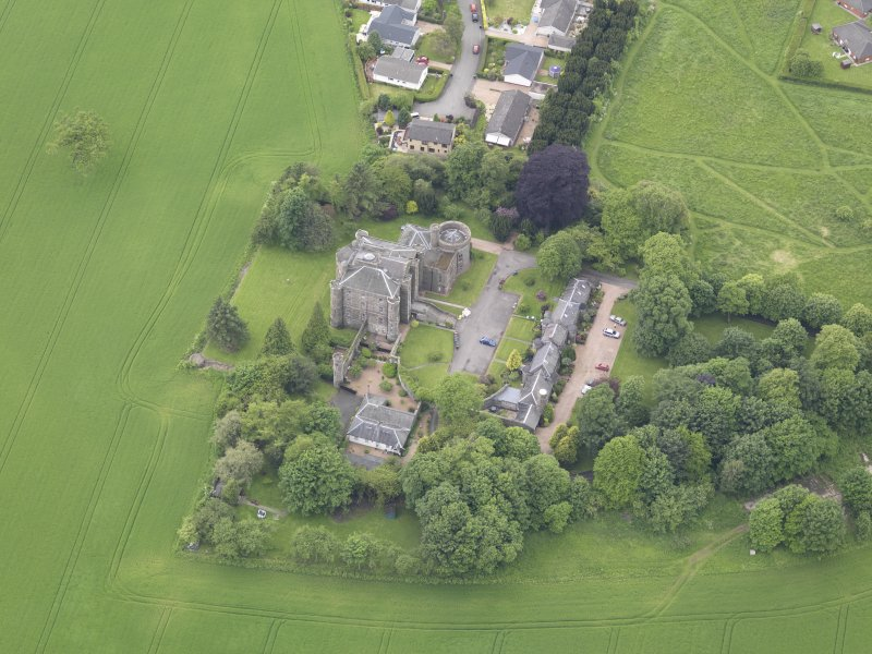 Oblique aerial view of Pitfour Castle, taken from the ENE.