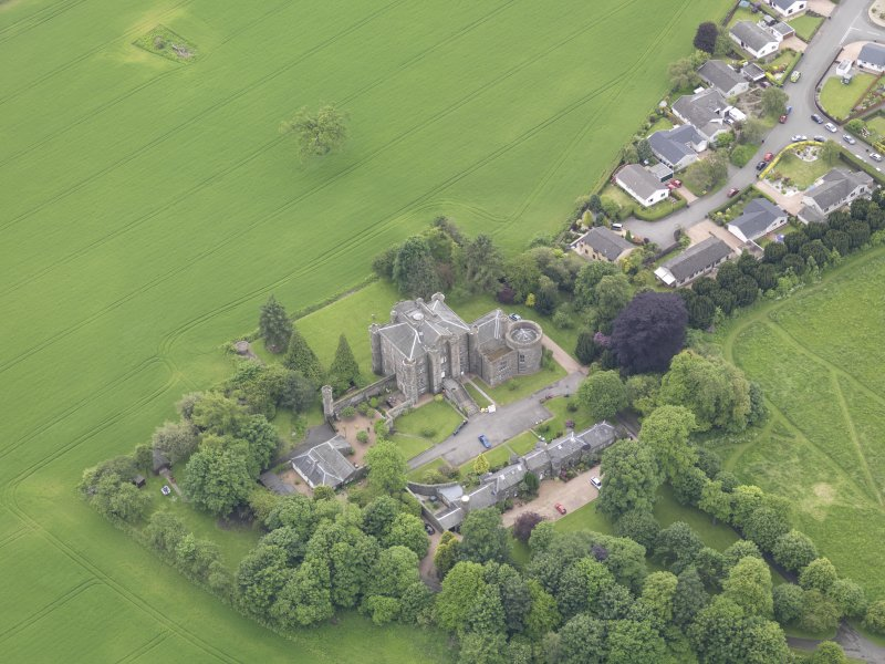 Oblique aerial view of Pitfour Castle, taken from the NNE.