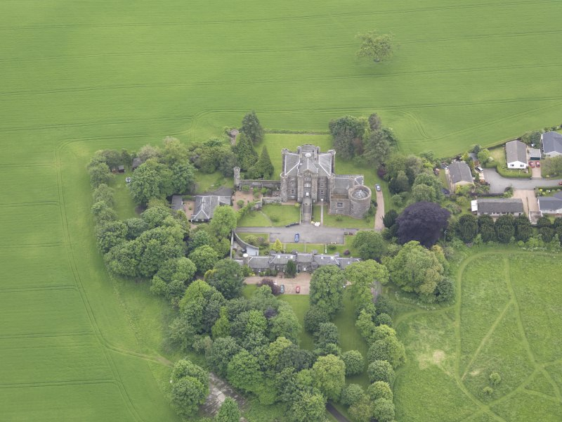 Oblique aerial view of Pitfour Castle, taken from the N.