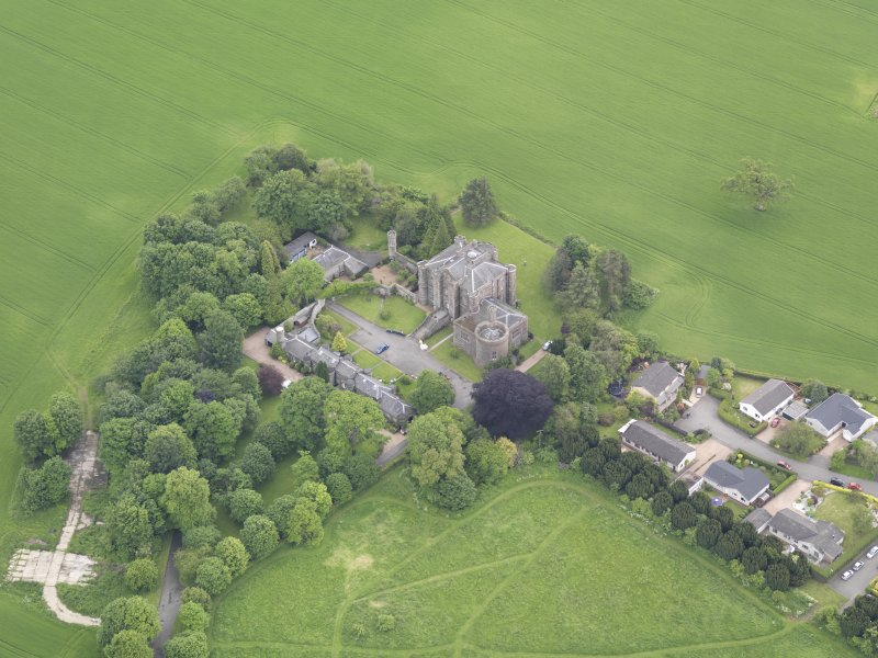 Oblique aerial view of Pitfour Castle, taken from the NW.