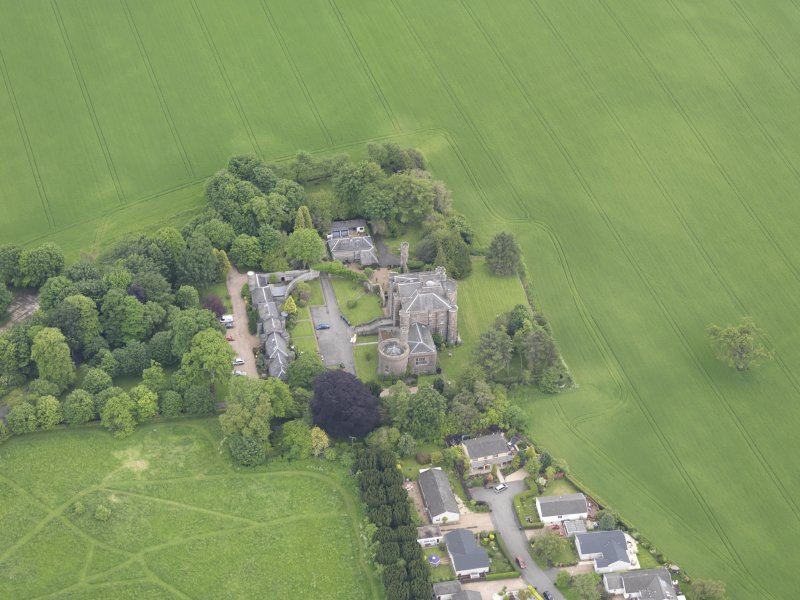 Oblique aerial view of Pitfour Castle, taken from the W.