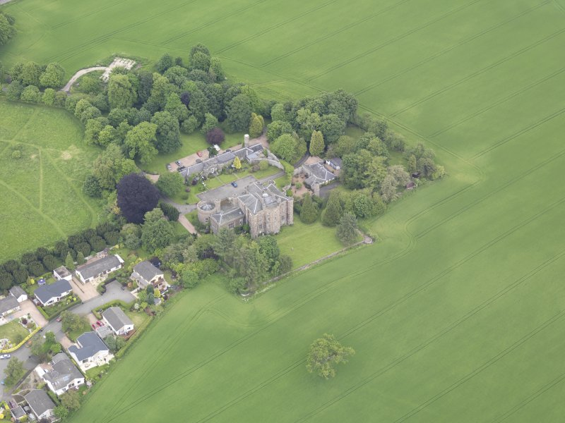 Oblique aerial view of Pitfour Castle, taken from the SSW.