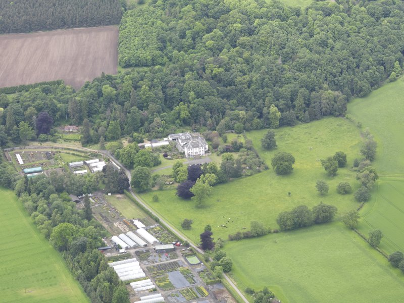 Oblique aerial view of Glendoick House, taken from the SSE.