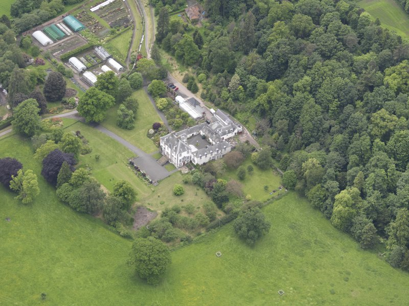 Oblique aerial view of Glendoick House, taken from the E.