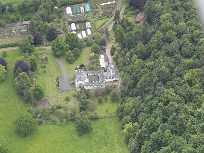 Oblique aerial view of Glendoick House, taken from the ENE.