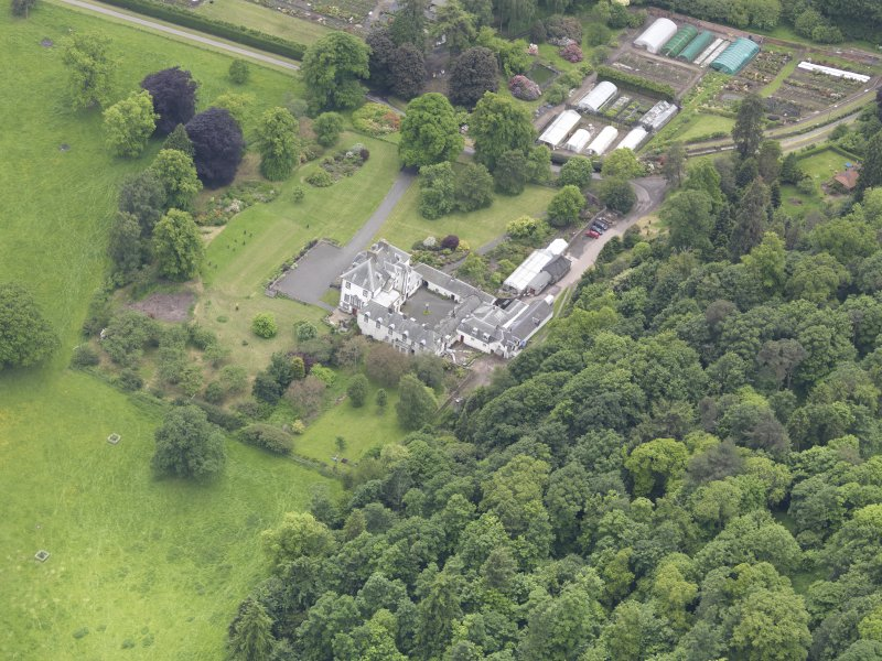 Oblique aerial view of Glendoick House, taken from the NE.