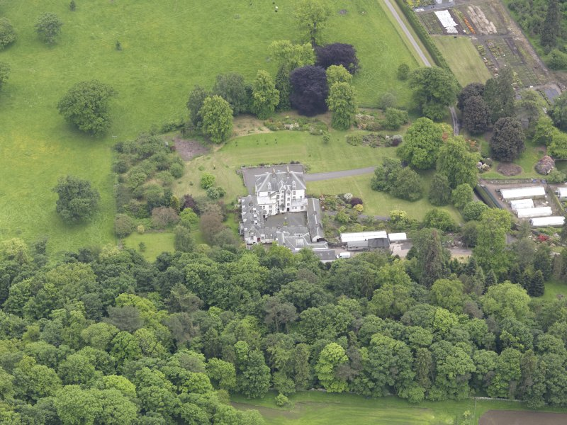 Oblique aerial view of Glendoick House, taken from the NNE.