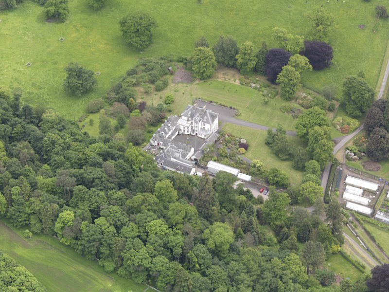 Oblique aerial view of Glendoick House, taken from the NW.