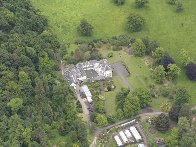 Oblique aerial view of Glendoick House, taken from the WSW.