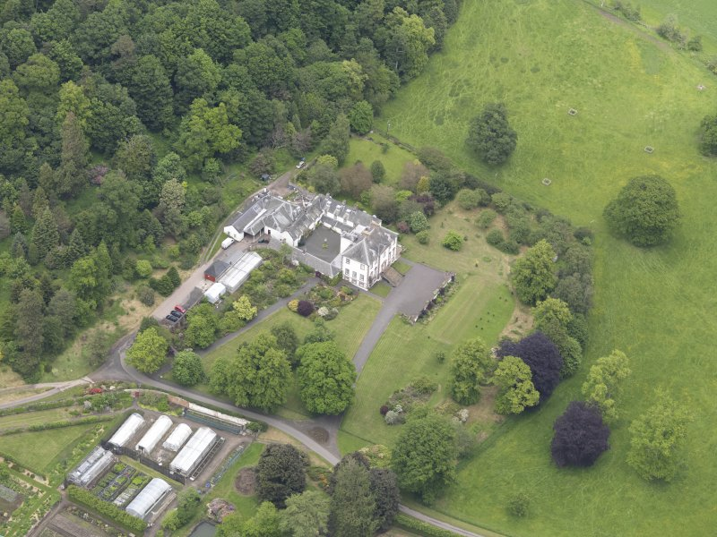 Oblique aerial view of Glendoick House, taken from the SW.