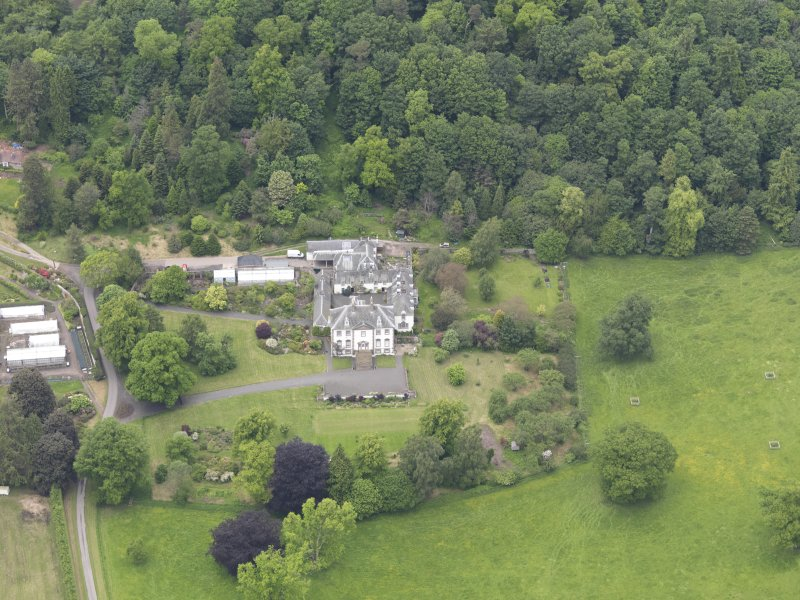 Oblique aerial view of Glendoick House, taken from the S.