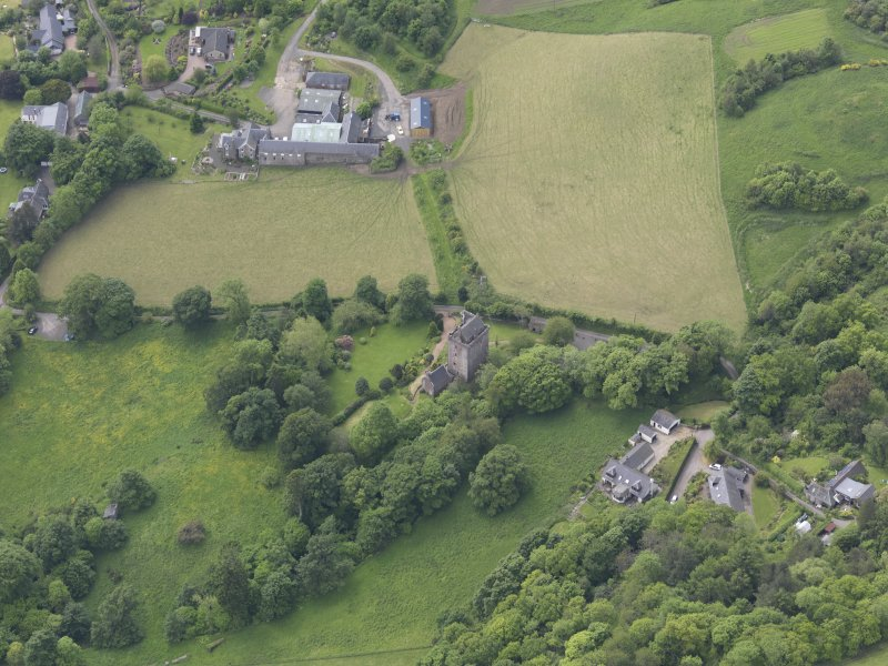 Oblique aerial view of Kinnaird Castle, taken from the E.