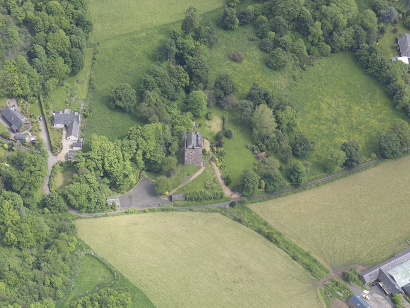 Oblique aerial view of Kinnaird Castle, taken from the W.