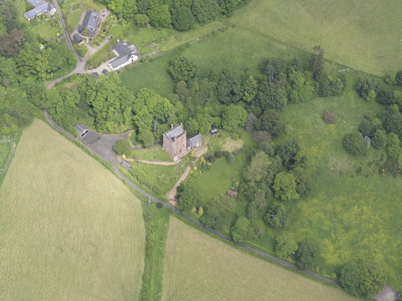Oblique aerial view of Kinnaird Castle, taken from the SW.