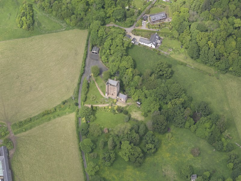 Oblique aerial view of Kinnaird Castle, taken from the S.