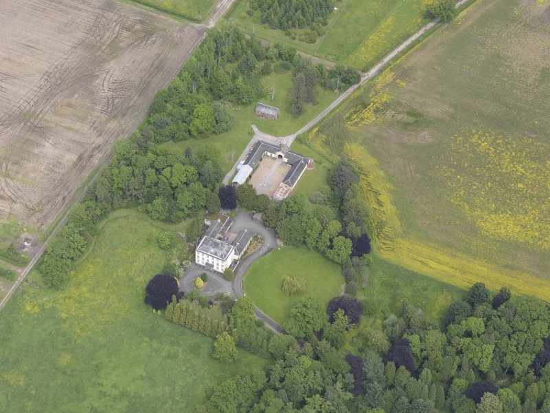 Oblique aerial view of Inchmartine House, taken from the SSW.