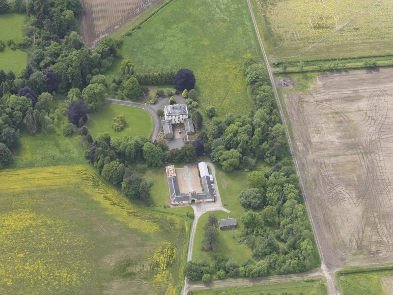 Oblique aerial view of Inchmartine House, taken from the ENE.