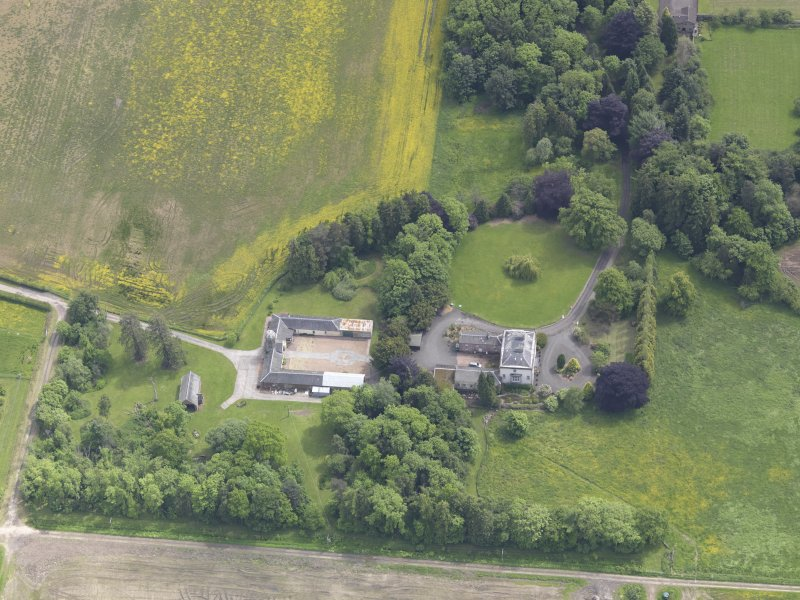 Oblique aerial view of Inchmartine House, taken from the NNW.