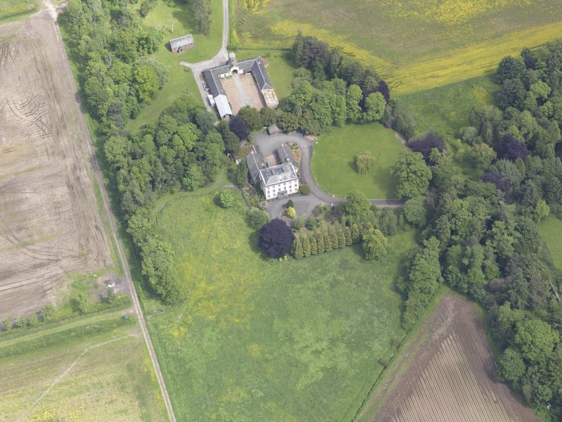 Oblique aerial view of Inchmartine House, taken from the W.