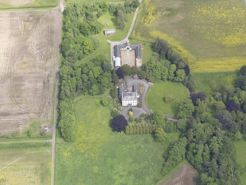 Oblique aerial view of Inchmartine House, taken from the SW.