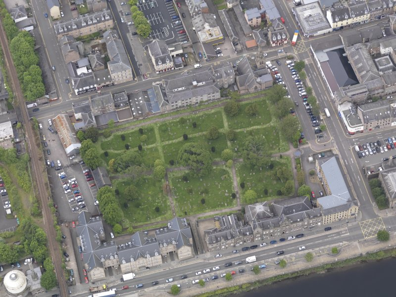 Oblique aerial view of Greyfriars Burial Ground, taken from the ESE.
