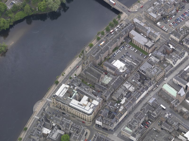 Oblique aerial view of St John's Kirk, taken from the NW.