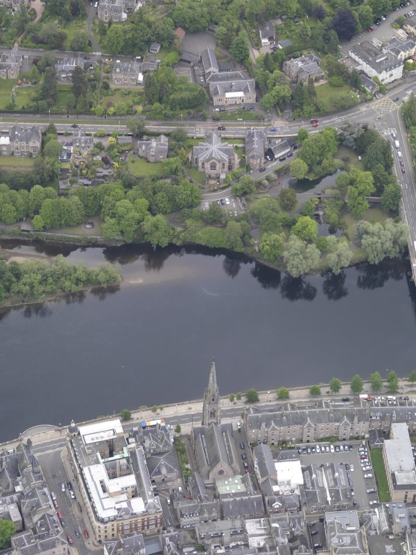 Oblique aerial view of St John's Kirk, taken from the W.
