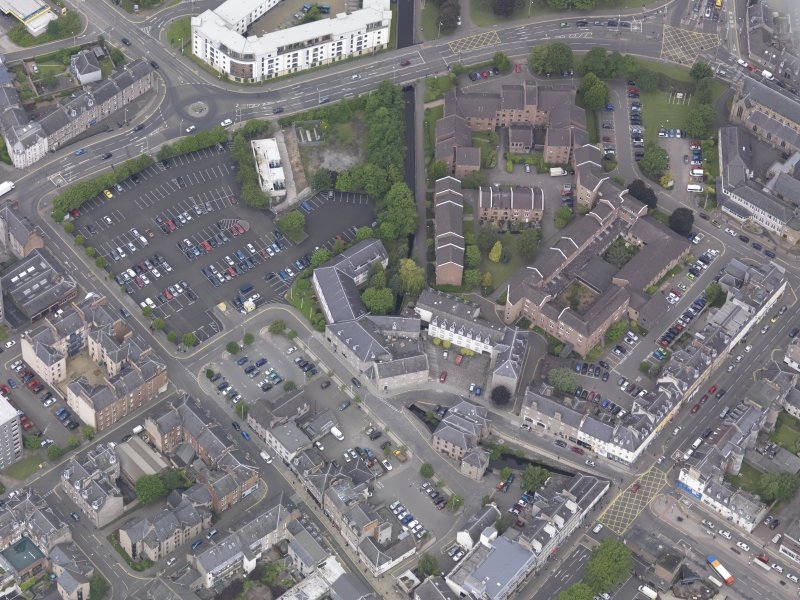 Oblique aerial view of former Perth City Mills, taken from the SE.
