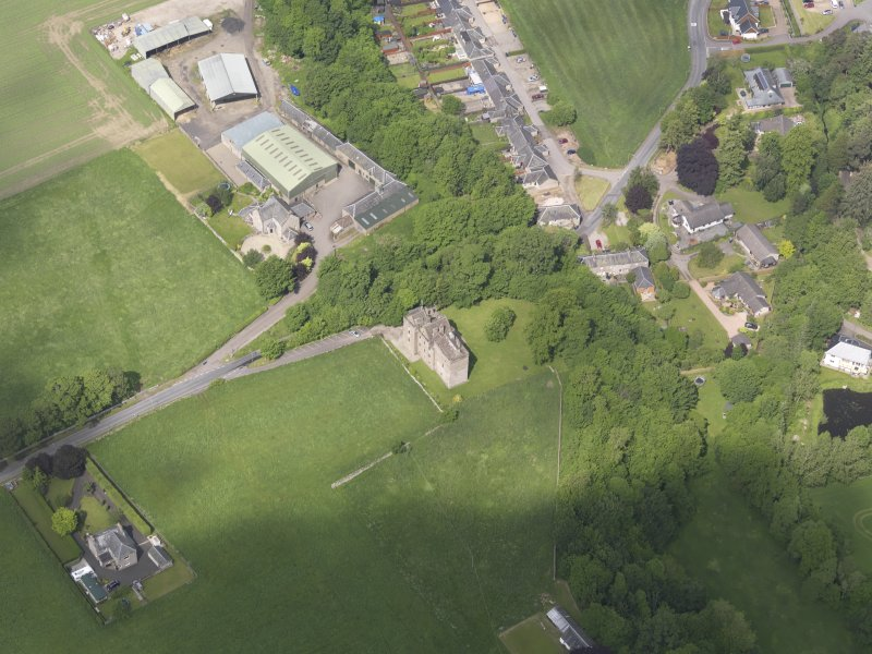 Oblique aerial view of Huntingtower Castle, taken from the SE.