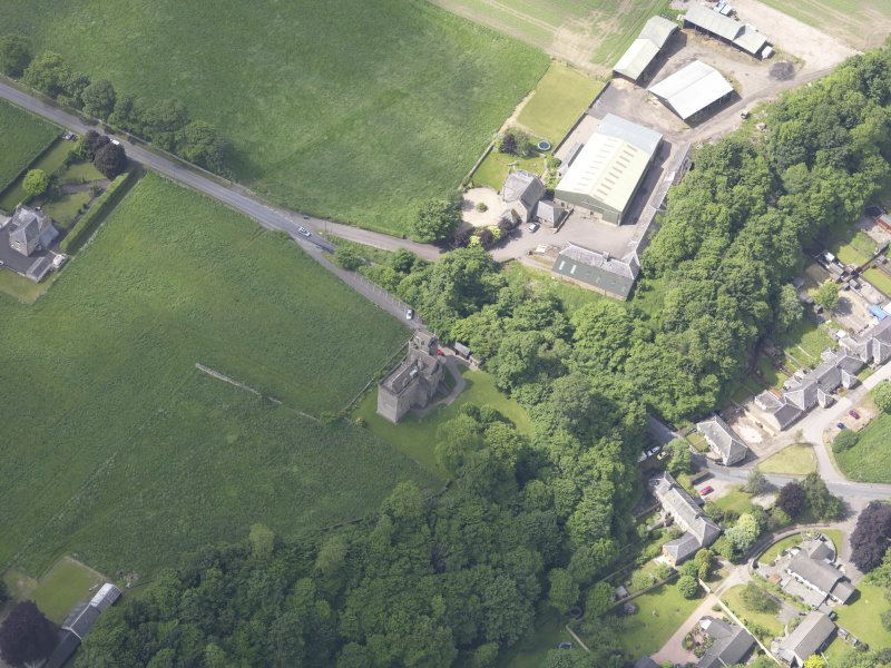 Oblique aerial view of Huntingtower Castle, taken from the ENE.