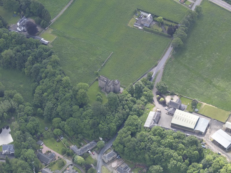 Oblique aerial view of Huntingtower Castle, taken from the NNW.