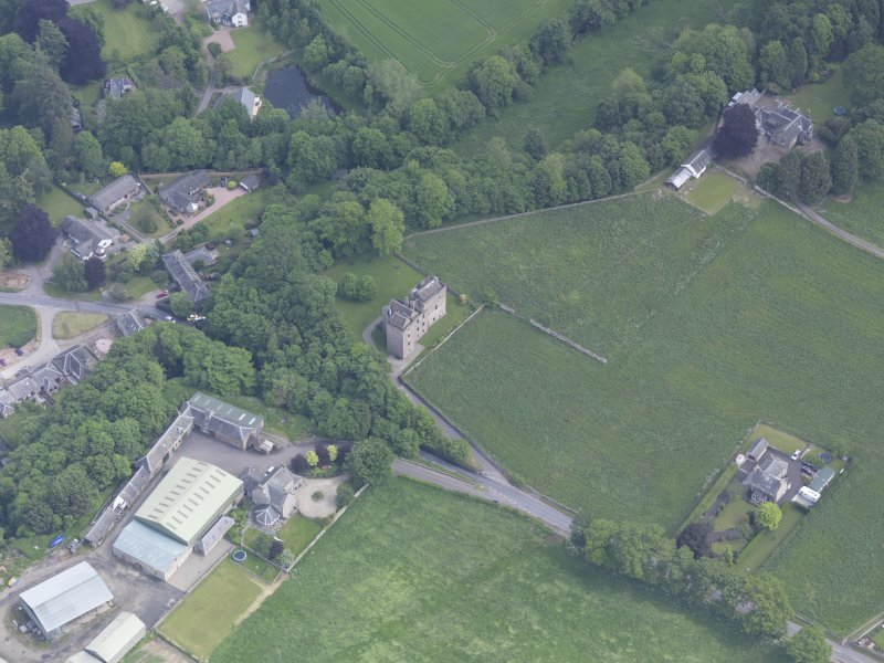 Oblique aerial view of Huntingtower Castle, taken from the SW.